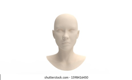 3d rendering of a human face mannequin isolated in studio background