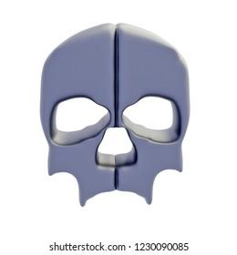 3d rendering of human skull emblem in metal