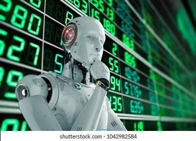 3d rendering humanoid robot analyze stock market
