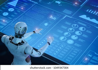 3D-Rendering für humanoide Roboter mit digitaler Grafik