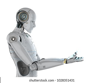 3d rendering humanoid robot with empty hand extend