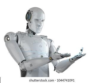 3d rendering humanoid robot with empty hand extend