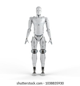 3d rendering humanoid robot full body on white background