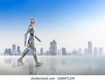3d rendering humanoid robot full body walk on terrace