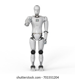 3d rendering humanoid robot hand pointing on white background