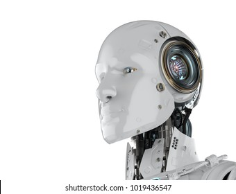 3d rendering humanoid robot isolated on white