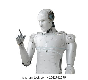 3d rendering humanoid robot point finger on white background