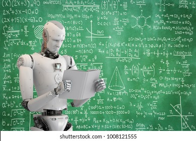 3d rendering humanoid robot reading a book