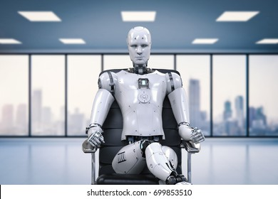 3d rendering humanoid robot sit on office chair