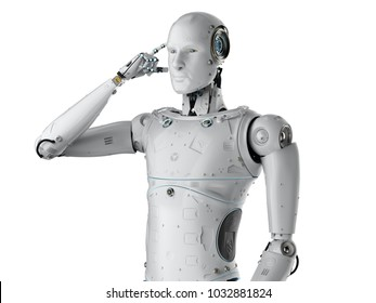 3d rendering humanoid robot thinking or computing on white background