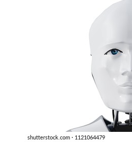 3D rendering of a humanoid robot thinking on a white background.Image of a robot's head with a shadow, isolated on white background.Can be used as background to an artificial intelligence theme.