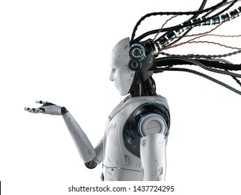 3d rendering humanoid robot with wires isolated on white