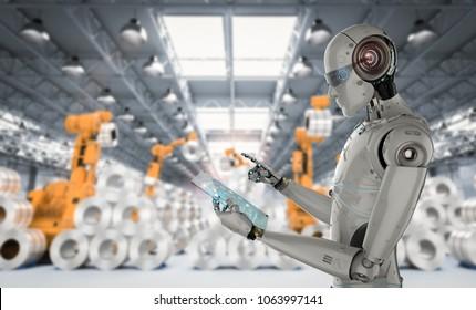 3d rendering humanoid robot working with digital tablet