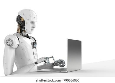 3d rendering humanoid robot working on laptop computer