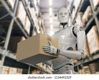 3d rendering humanoid robots carry cardboard boxe in warehouse