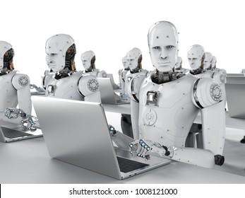 3d rendering humanoid robots working on laptop computer