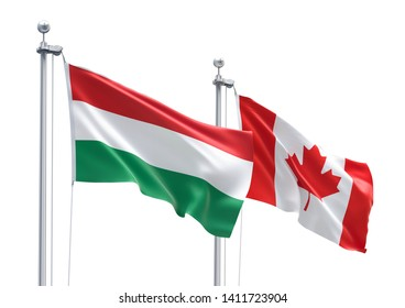 3D Rendering of Hungary & Canada Flags are Waving in the Sky - 3d illustration