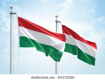 3D Rendering of Hungary & Hungary Flags are Waving in the Sky - 3d illustration