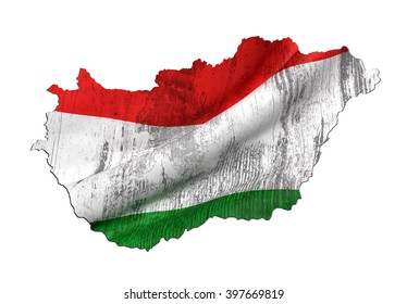 3d rendering of Hungary map and dirty flag on white background.