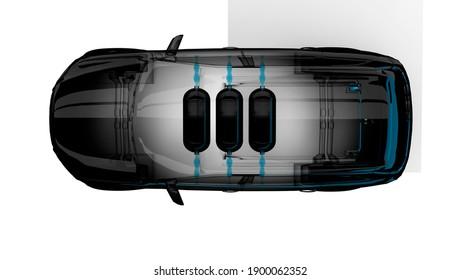 3D rendering. Hydrogen car with 3 carbon fiber hydrogen tanks. Top view. FCV. Concept schematic view. Zero emission electrified car alternative.
