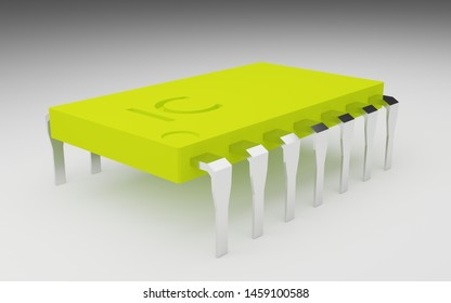 3D rendering IC Chip circuit - Hardware concept electronic device
