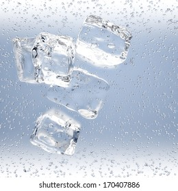 3D rendering of ice cubes with water drops on blue background