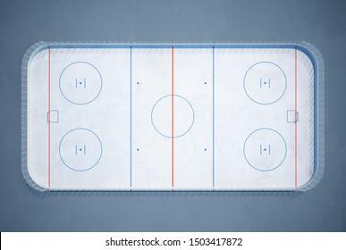 3d rendering of ice hockey field