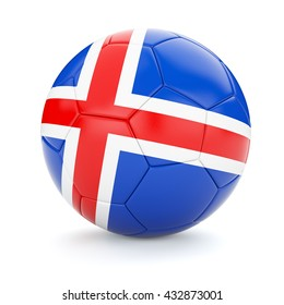 3d rendering of Iceland soccer football ball with Iceland flag isolated on white background