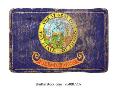 3d rendering of an Idaho State flag over a rusty metallic plate. Isolated on white background.