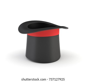 3d rendering of a illusionist's black hat isolated on a white background. Magic tricks. Illusionist's props. Kid's entertainment.