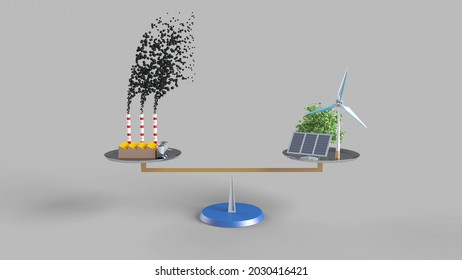3d rendering to illustrate carbon neutrality. Carbon dioxide emitted from fossil fuels is neutralized with renewable energy.