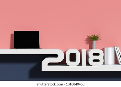3D rendering : illustration of 2018 white shlelf with notbook or laptop. decorate with little green plant. 2018 decoration concept. new year background. clipping path included at screen