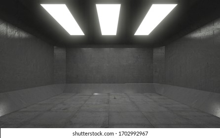 3D Rendering - Illustration abstract background, Empty Space White Glow, Elegant Hall Concrete Underground Showroom Garage futuristic Sci-Fi