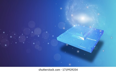 3D rendering illustration abstract background technology and innovation concept,with universe gate and Geometric shapes and squares with bokeh and glitter light shining glow