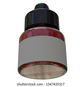 3D rendering illustration of an acrylic fluorescent ink bottle