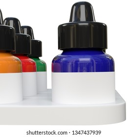 3D rendering illustration of an acrylic fluorescent ink set