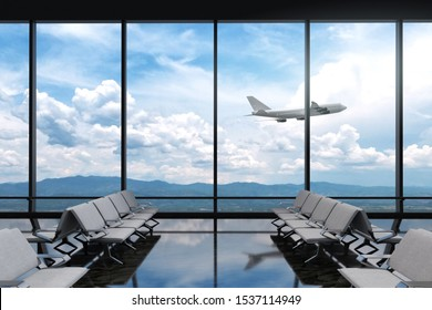 3D Rendering : illustration of at airport terminal. view from airport looked out. big window glass. airplane flying on blue sky background. travel around the world concept. ready for travel concept