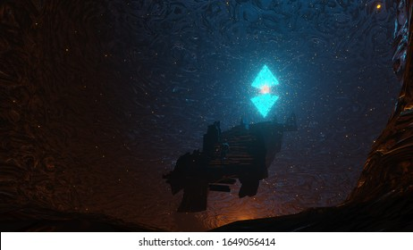 3d rendering illustration of a Ancient cave sanctuary with a artifact that was found by a explorer and has started to walk to it to find out what kind of power does it posses.