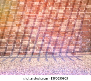 3D rendering or Illustration of background or backdrop. Pebbles and old brick wall.