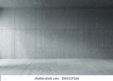 3D Rendering : illustration of Background empty room. space for your text and picture. 3d render blank trade show booth for designers. modern loft concrete cement wall and floor room. empty house