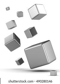 3D rendering illustration background metal cubes