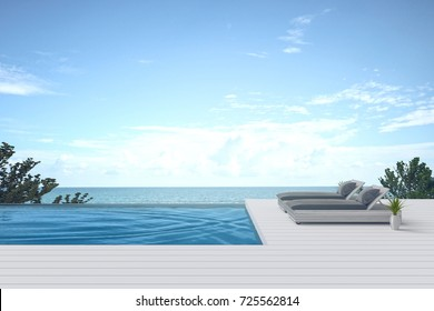3D rendering : illustration of Beach lounge. sun loungers on Sunbathing deck and private swimming pool with sea view at luxury villa resort. travel in summer time concept.