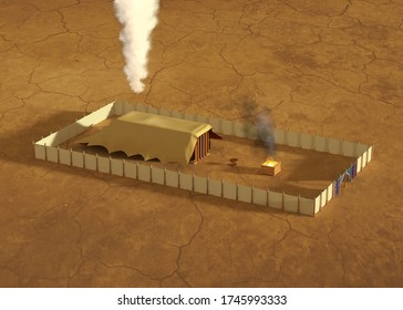 3d rendering illustration of Bible sanctuary in the wilderness, Old Testament scripture structure of tabernacle, as described in the book of the Exodus.