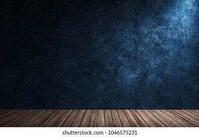 3d rendering illustration of big modern room with blue plaster wall, wooden floor and plinth. Interior with bright spotlights. Studio, showroom, photostudio, stage.