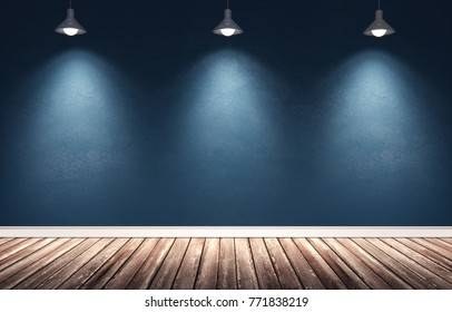 3d rendering illustration of big modern room with blue painted concrete wall, wooden floor and white plinth. Interior with three hanging spotlight metal lamps. Studio, showroom, photostudio, stage.