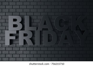 3D Rendering, 3D illustration Black Friday, sale message for shop. Business hopping store banner for Black Friday. Black Friday sale inscription design template. Banner for your design