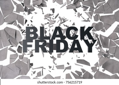 3D Rendering, 3d illustration Black Friday, sale message for shop. Business hopping store banner for Black Friday. Black Friday crushing ground. 3D text breaking through wall.