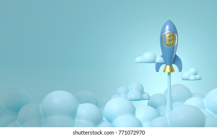 3d rendering illustration of blue bitcoin rocket fly to sky on cyan background. express high growth value of bitcoin.
