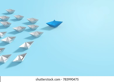 3D Rendering : illustration of blue origami made from paper boat standing leading out from the crowd of white boats. with blue background. Leadership of business team concept