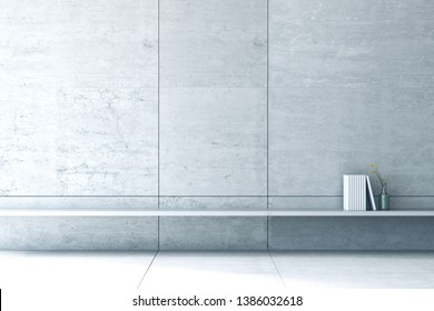 3D Rendering : illustration of book shelf in minimalism cemett concrete loft style wall and floor. living room interior design. minimal living room decoration concept. rest area of house